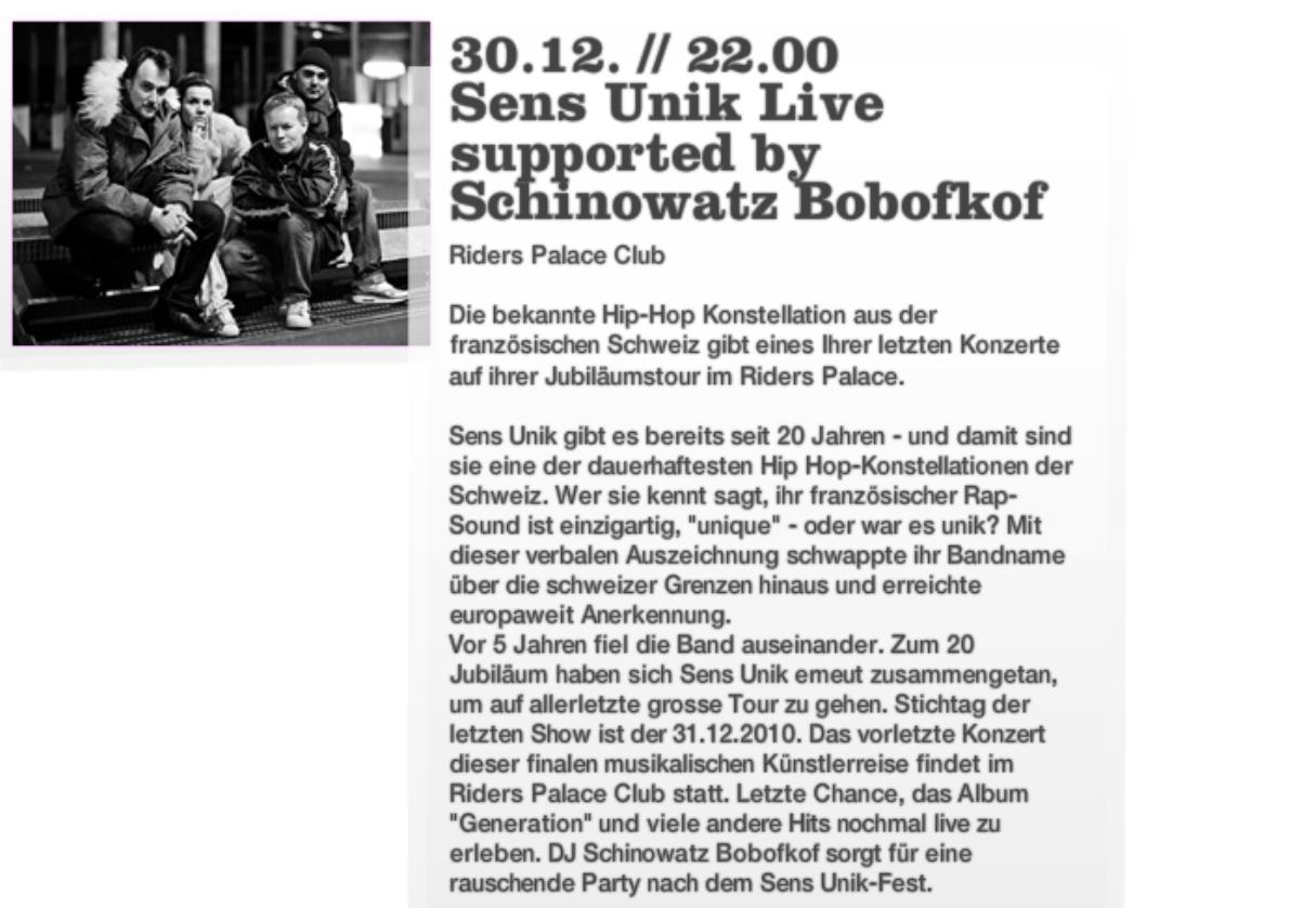 Sens Unik supported by Schinowatz Bobofkof